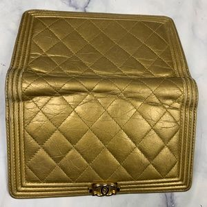 CHANEL Bags - CHANEL Le Boy Yen wallet antique gold